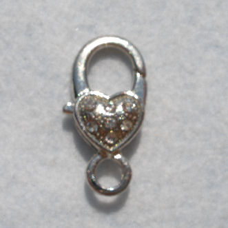 Fermoir Mousqueton Metal Argent Coeur 27x14mm La Piece