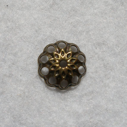 Perle Calotte ronde Metal Vieil Or 8mm La Piece