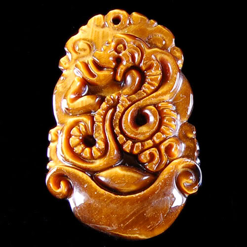 Pendant Oeil de Tigre Serpent 35x22x6mm Photo Conforme